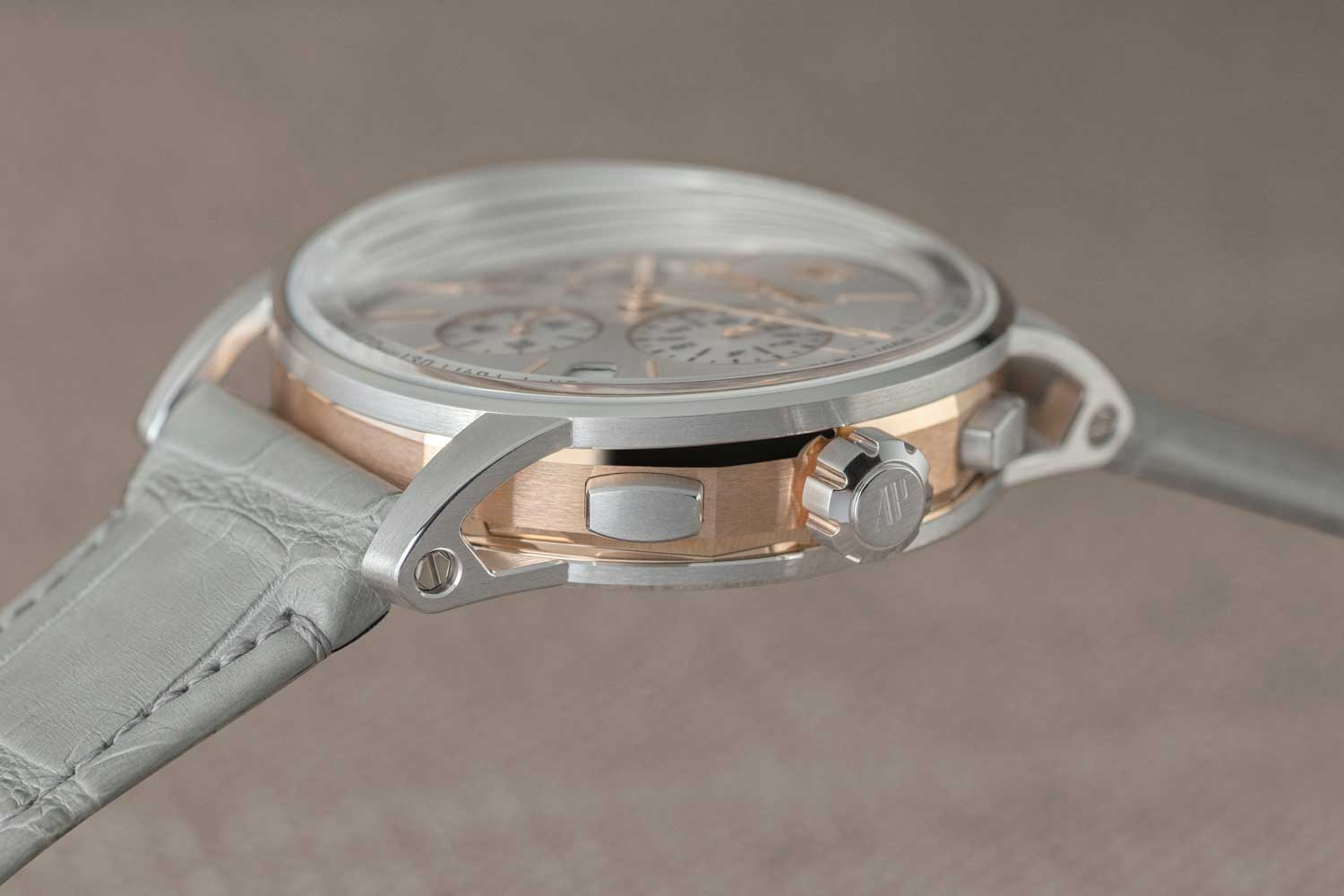The side of the case of the Code 11.59 by Audemars Piguet Selfwinding Chronograph in 41mm, ref. 26393CR.OO.A009CR.01 (©Revolution)
