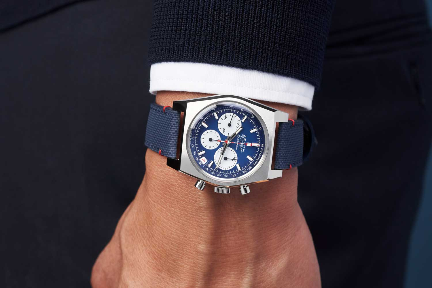 Exclusive to the U.S. and Canada, the red, white, and blue Chronomaster is a limited edition of only 150 pieces.