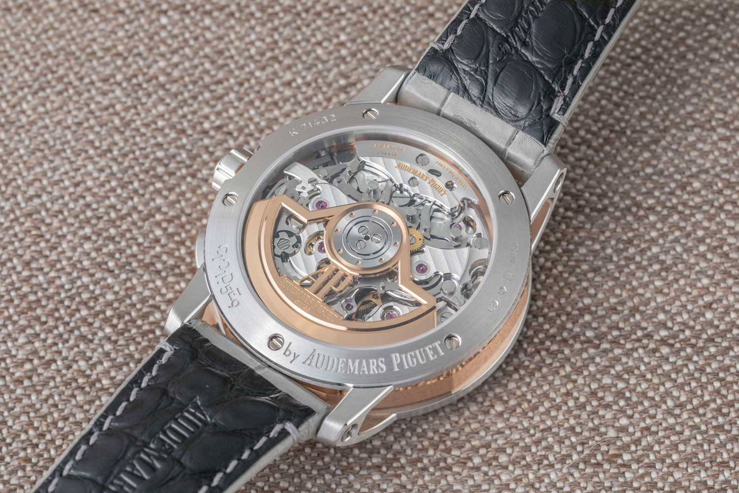 The Code 11.59 by Audemars Piguet Selfwinding Chronograph in 41mm, ref. 26393CR.OO.A009CR.01 is powered by the all new Manufacture Calibre 4401, a column-wheel-activated vertical clutch chronograph (©Revolution)