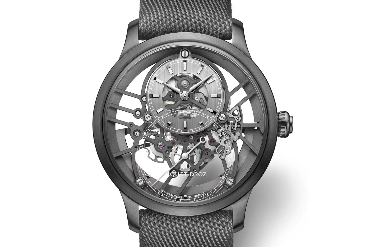 The 2020 The Jaquet Droz Grande Seconde Skelet-One in black plasma ceramic (41.5 mm), which is a color that is obtained by subjecting the ceramic material through two heating processes, the latter requires temperatures of 20,000º Celsius