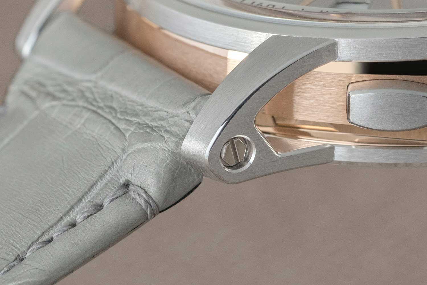 A high-polished, screw-slotted, hexagonal-shaped threaded device used to retain the attachment for the strap on Code 11.59 by Audemars Piguet timepieces (©Revolution)