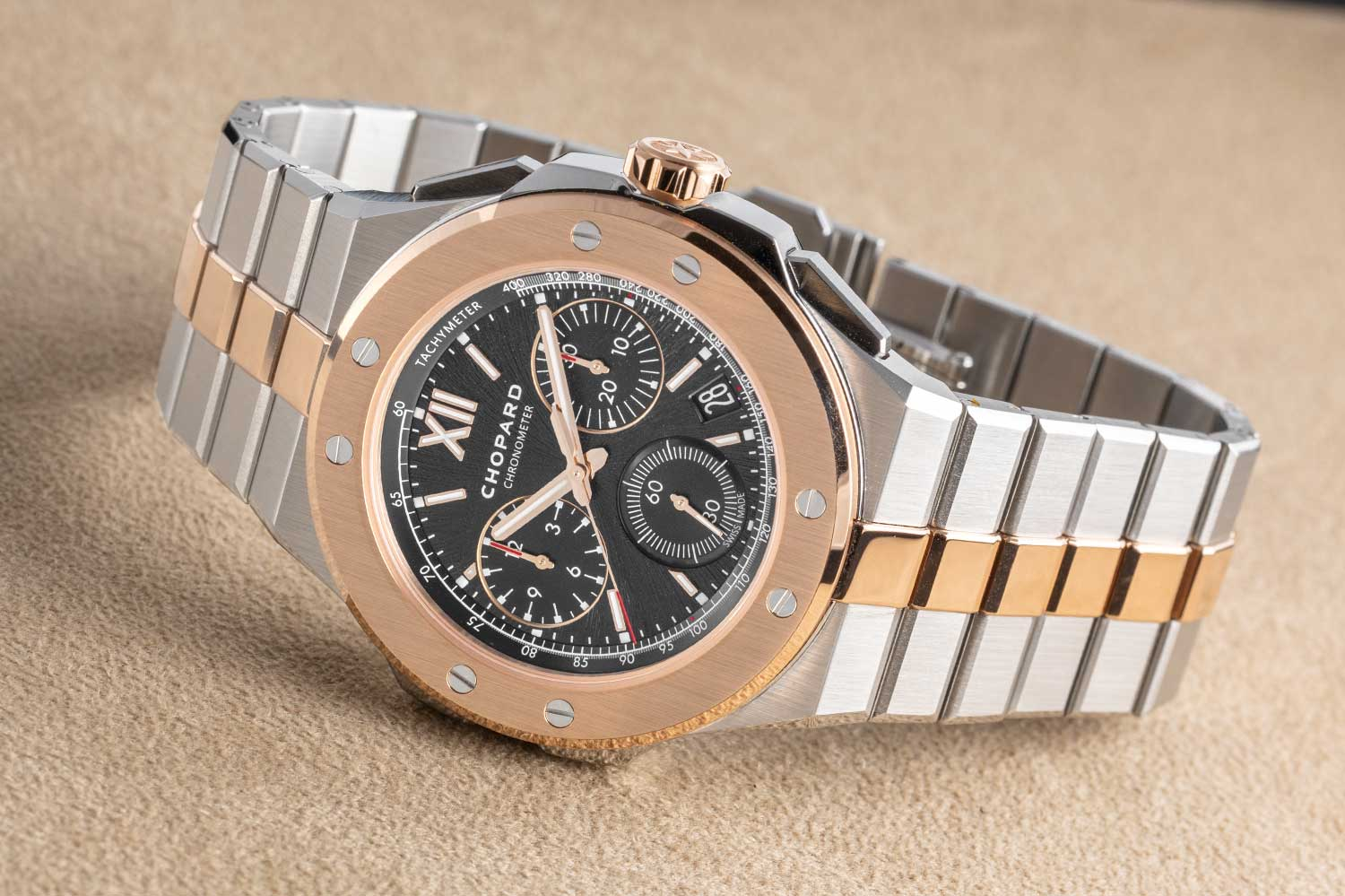 The Alpine Eagle XL Chrono's bi-metal variation in Lucent Steel A223 and 18-carat ethical rose gold (©Revolution)