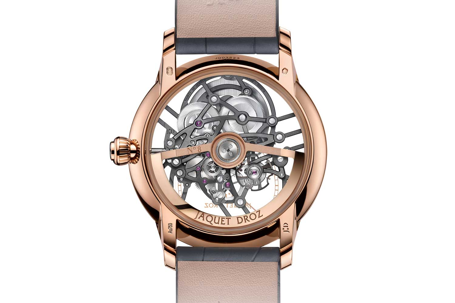 The the Jaquet Droz 2663 SQ self-winding mechanical movement seen through the caseback of the Seconde Skelet-One in red gold (41mm)