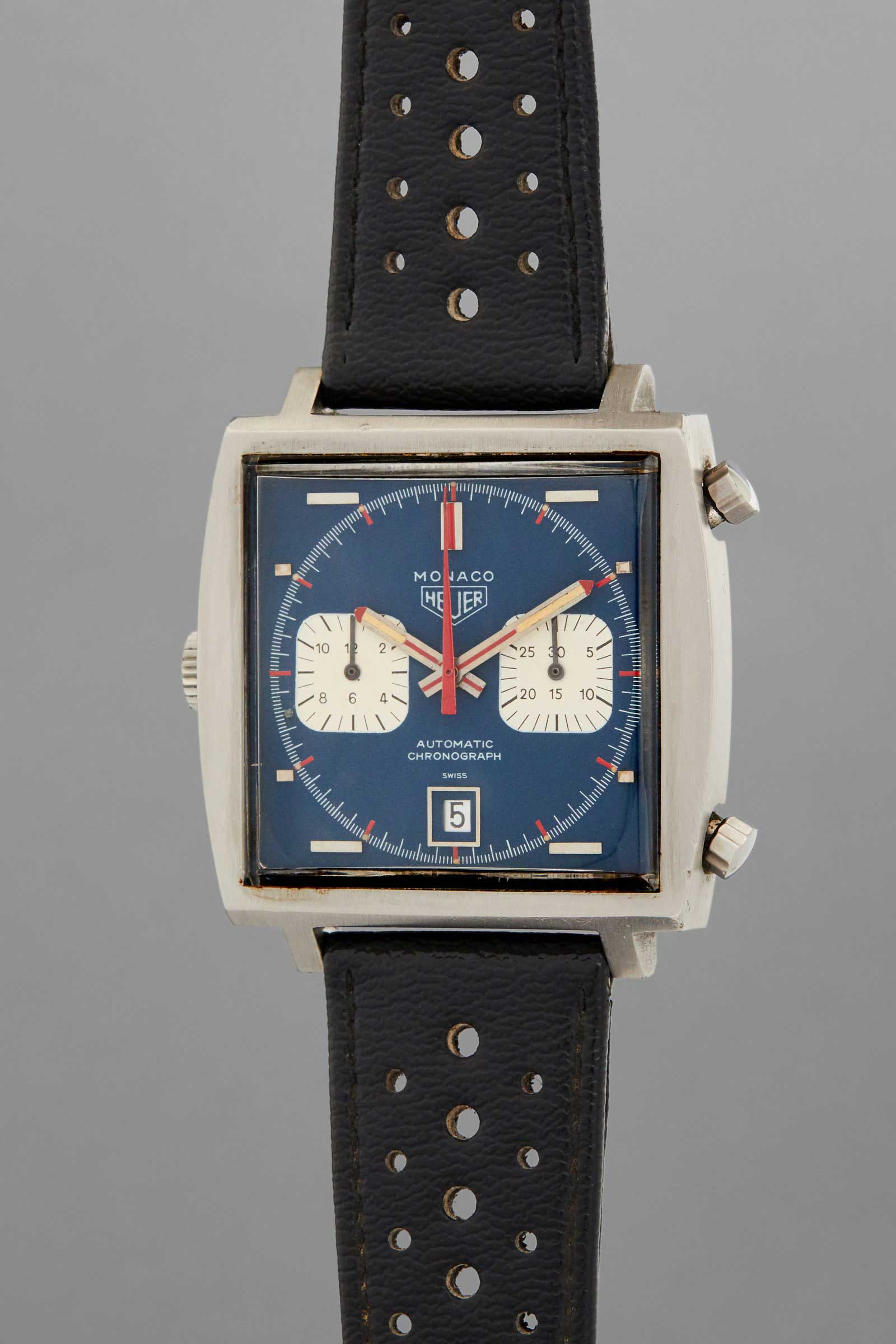 One of six Heuer Monaco watches used during the filming of Steve McQueen's 1970 film, Le mans to be auctioned by Phillips at 2020 New York sale, on 12 December (Image: phillipswatches)