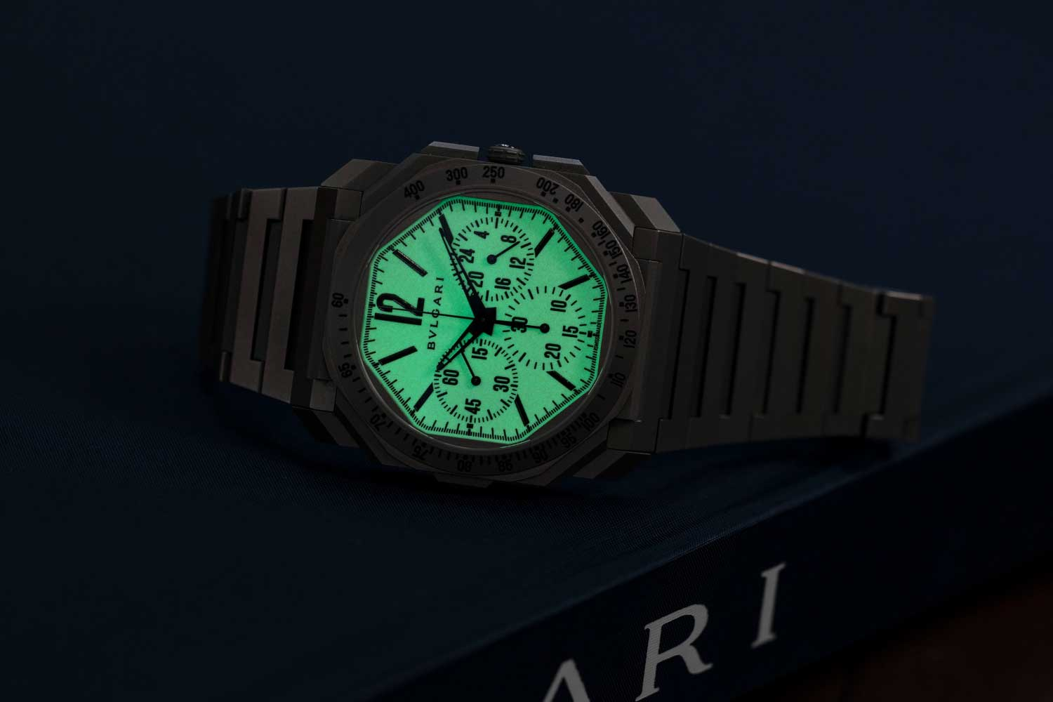 The 0.2mm thick dial of the Bulgari Octo Finissimo Chronograph GMT for Revolution & The Rake completely covered in lume such that the indications stand out in negative relief (©Revolution)