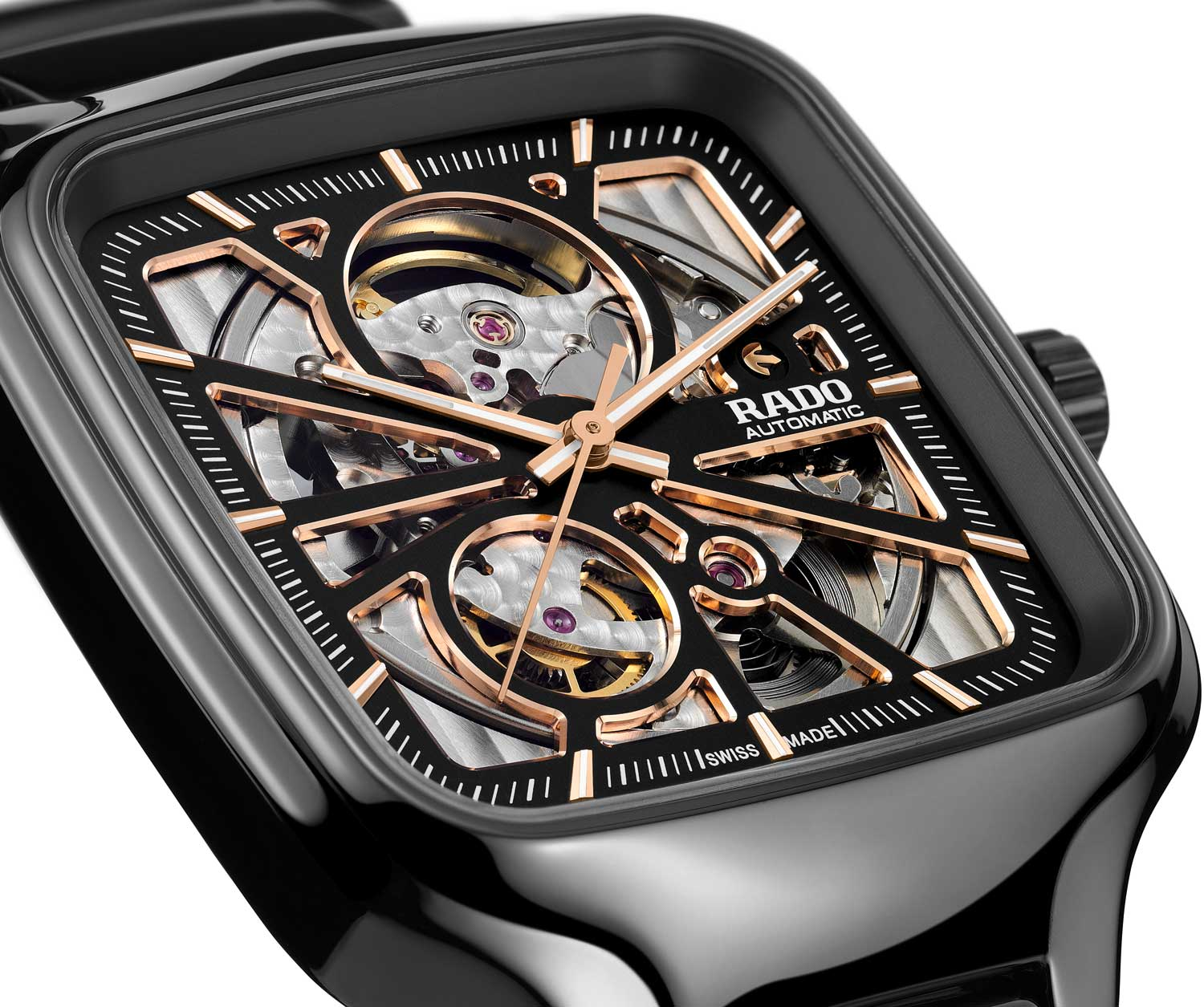 The Rado True Square Open Heart's case is of a monobloc construction in polished black ceramic