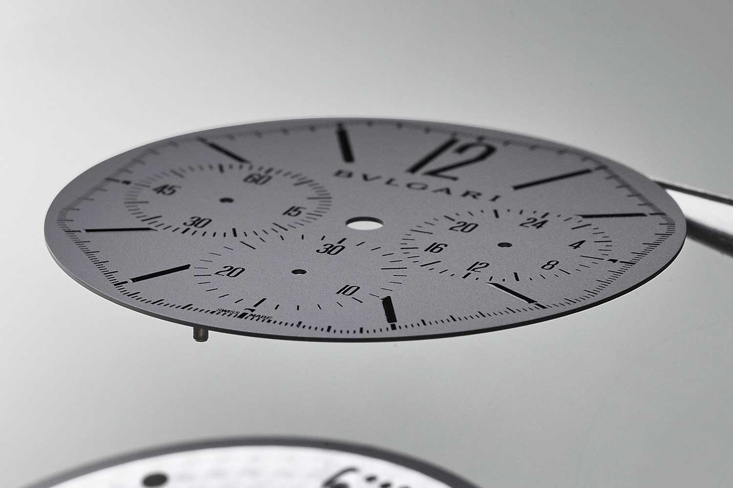 The dial of the regular version of the Bulgari Octo Finissimo Chronograph GMT is a mere 0.2mm thick the indexes