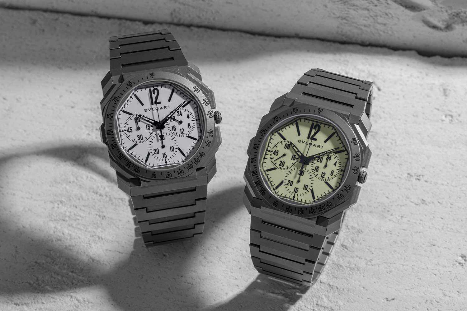 """The Bulgari Octo Finissimo Chronograph GMT """"White Light"""" for Revolution & The Rake on the left and the more aggressively lumed """"Nuclear Option"""" on the right (©Revolution)"""