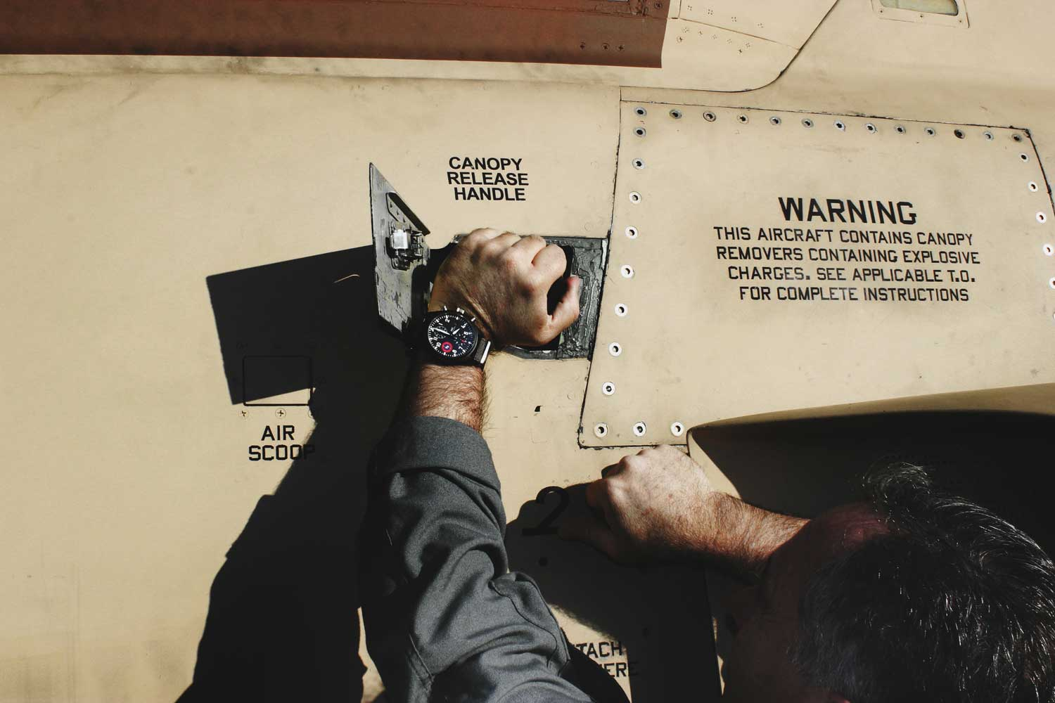 "Doing pre-flight checks, CAPT Jim DiMatteo wearing his IWC Pilot's Watch Chronograph Edition ""Strike Fighter Tactics Instructor"""