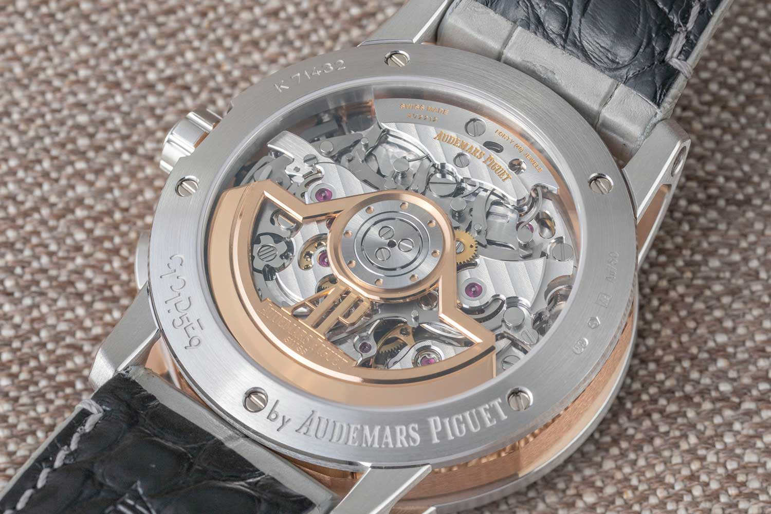 The caseback of Code 11.59 by Audemars Piguet timepieces have a flat sapphire crystal, and again receives the combination of a brushed centre and high-polished top and bottom bevel (©Revolution)