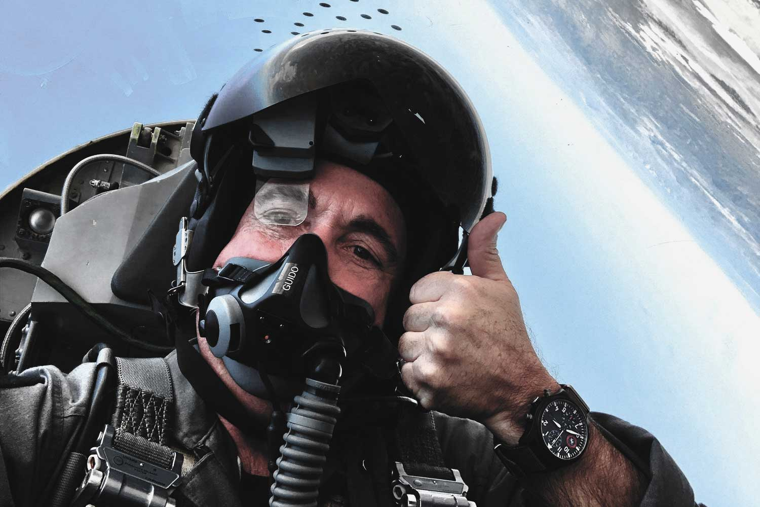 "In the cockpit, CAPT Jim DiMatteo wearing his IWC Pilot's Watch Chronograph Edition ""Strike Fighter Tactics Instructor"""