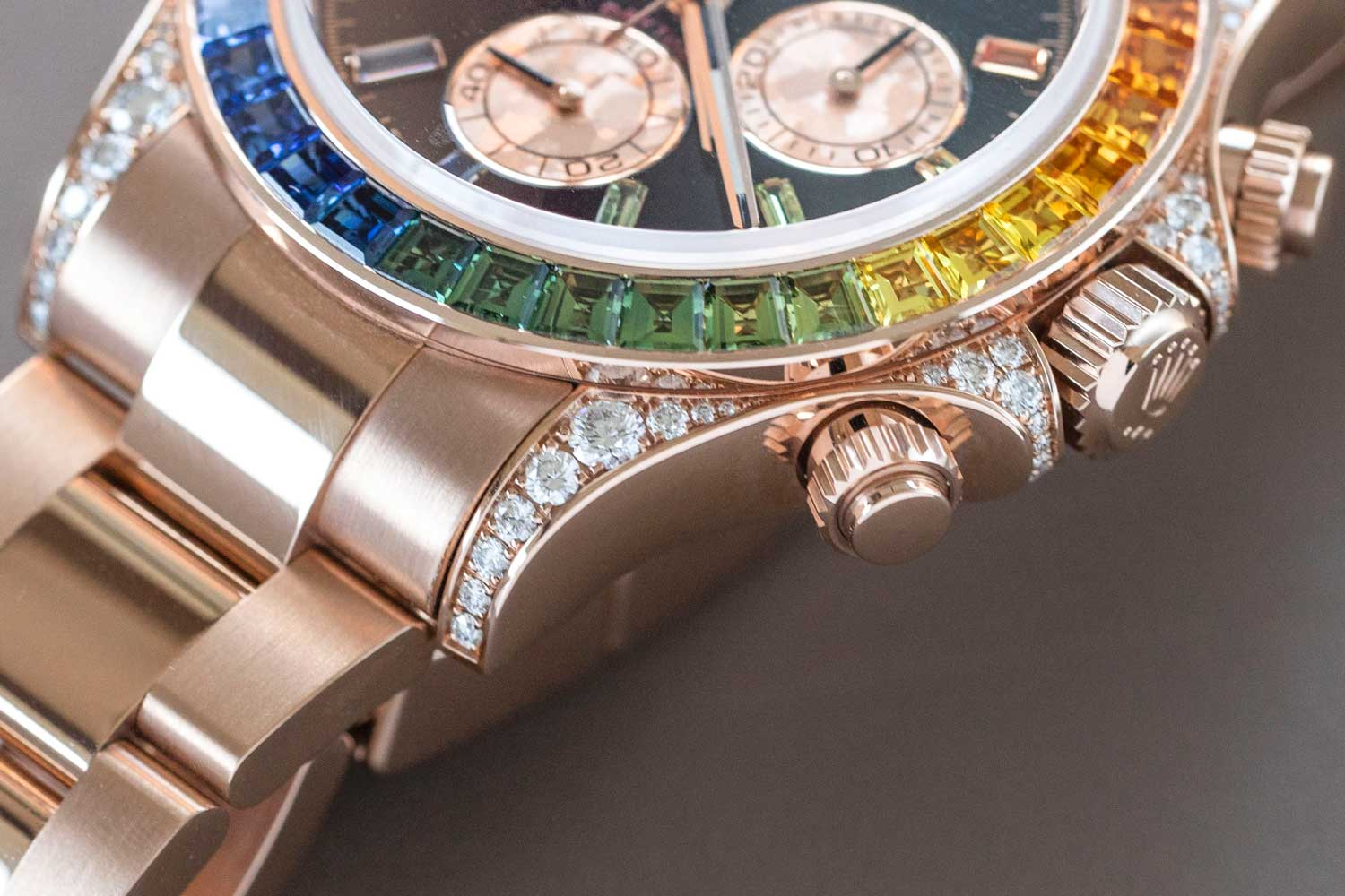 The Rolex Daytona ref. 116595 RBOW with the black dial and Everose case (©Revolution)