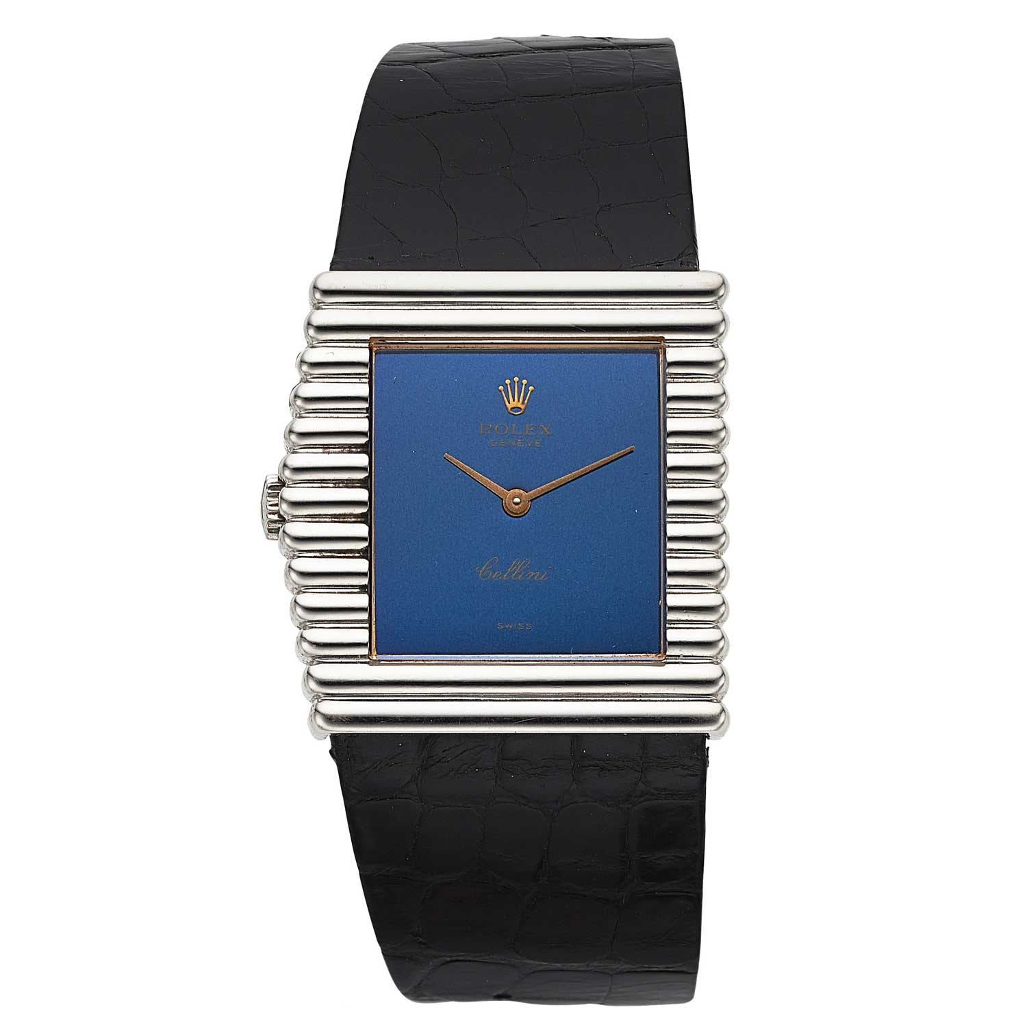 Ref. 4015 in white gold with fluted bezel and blue dial, circa 1976