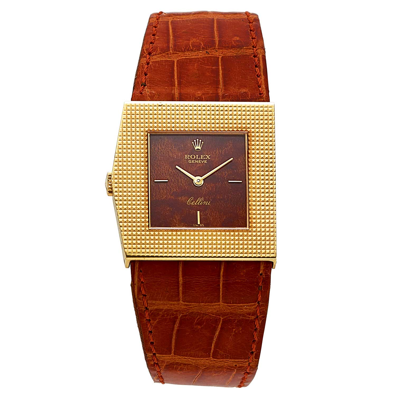 Ref. 4126 in yellow gold with hobnail-textured bezel and polished wood dial, circa 1981