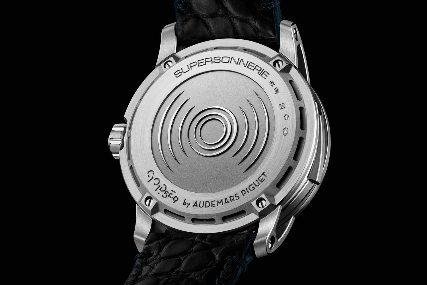 """""""Soundwave"""" caseback design of the Code 11.59 by Audemars Piguet Minute Repeater Supersonnerie"""