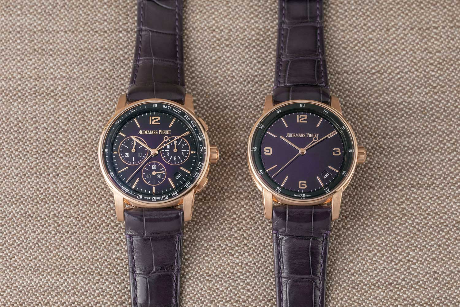 The 2020 of Code 11.59 by Audemars Piguet timepieces feature arresting and visually dynamic dials such as this pair in a smoked purple lacquered dial with sunburst pattern on the ref. 26393OR.OO.A616CR.01 selfwinding chronograph and the ref. 15210OR.OO.A616CR.01 time-only ©Revolution)