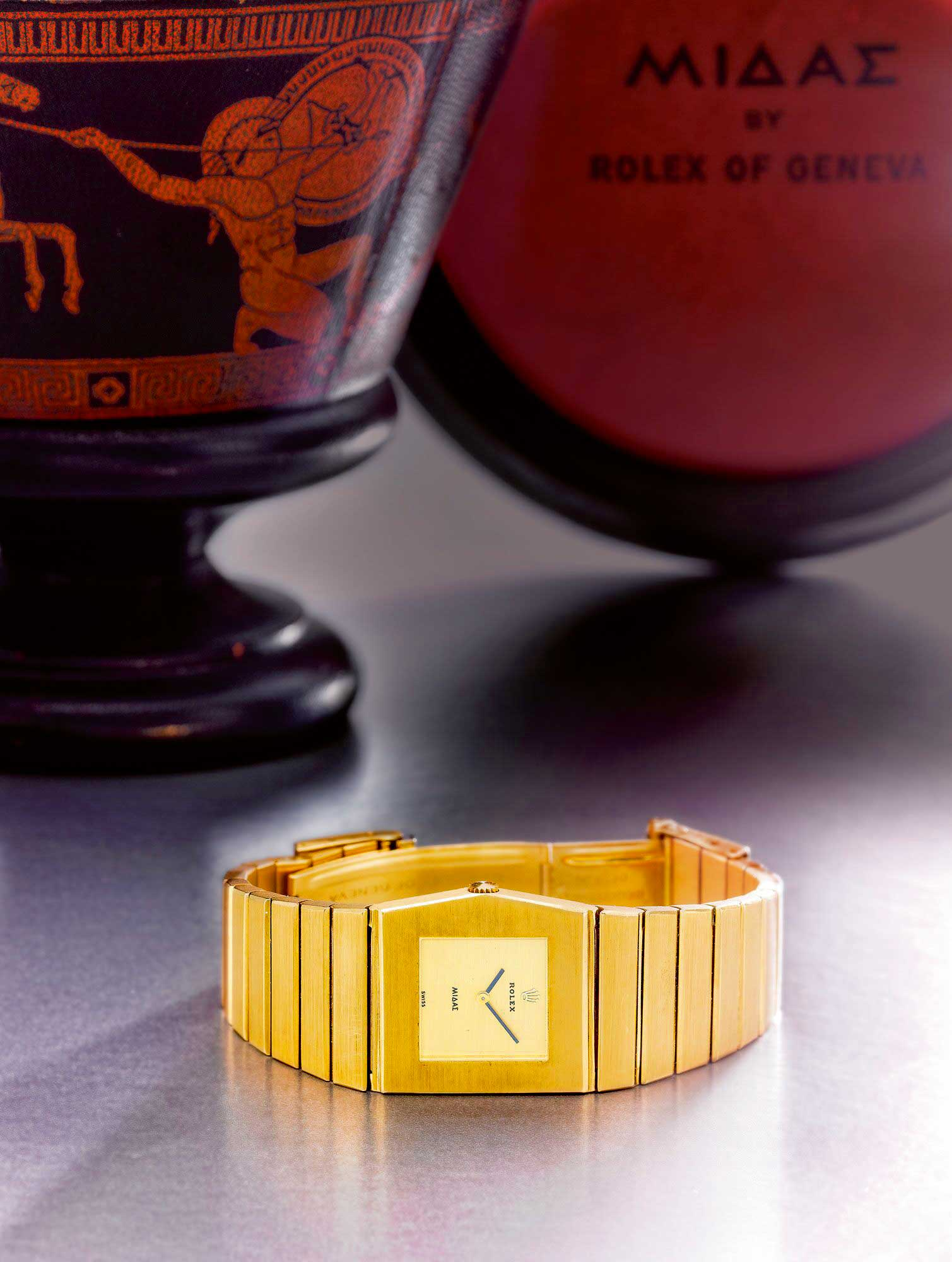 The Ref. 9630 is accompanied by a Rolex King Midas Urn inspired presentation box (Image: sothebys.com)