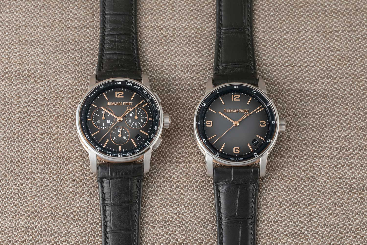 The 2020 of Code 11.59 by Audemars Piguet timepieces feature arresting and visually dynamic dials such as this pair in a smoked grey lacquered dial with sunburst pattern on the ref. 26393CR.OO.A002CR.01 selfwinding chronograph and the ref. 15210CR.OO.A002CR.01 time-only ©Revolution)