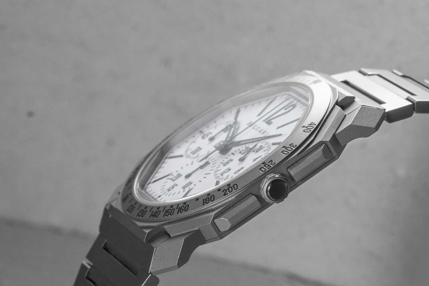 The Bulgari Octo Finissimo Chronograph GMT for Revolution & The Rake case measures a slim 6.90 mm in thickness (©Revolution)