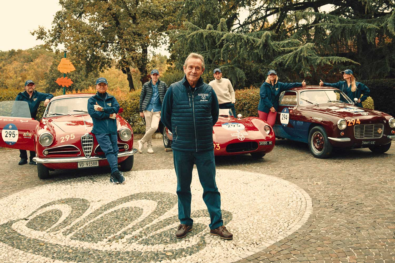 Chopard team drivers before the start of the 1000 Miglia 2020 in Brescia, Italy (Photo by Adam Fussell)