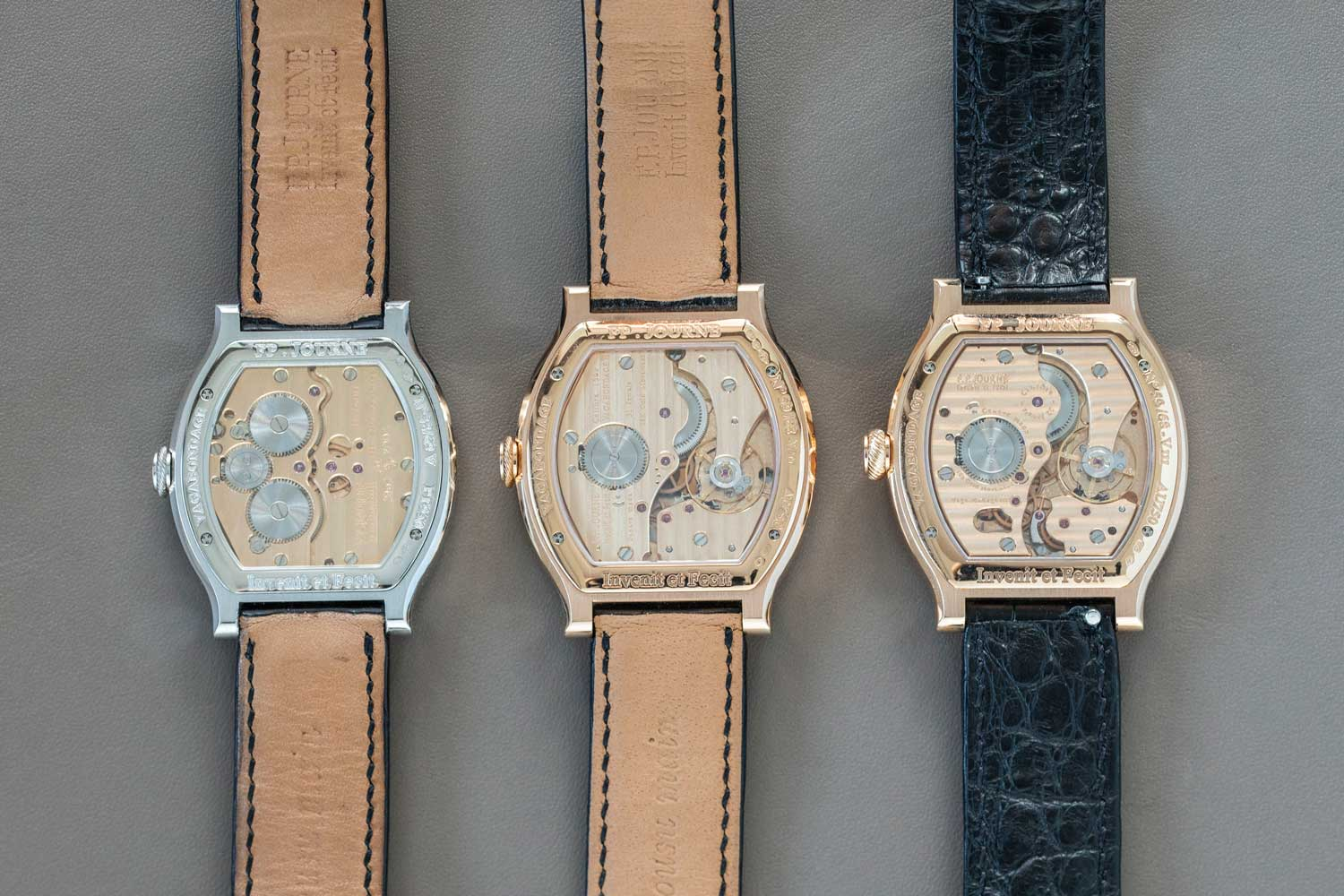 Santa Laura's three generations of the F.P. Journe Vagabondage watches (©Revolution)