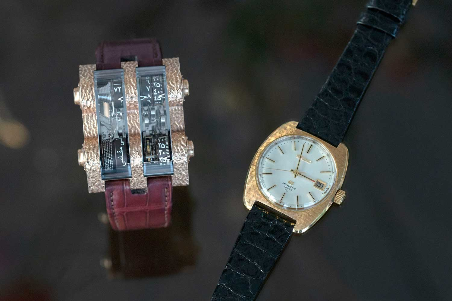 Santa Laura's pièce unique Cabestan with a hand-hammered-type case finishing and his Grand Seiko 45GS, which has a similar case finishing (©Revolution)