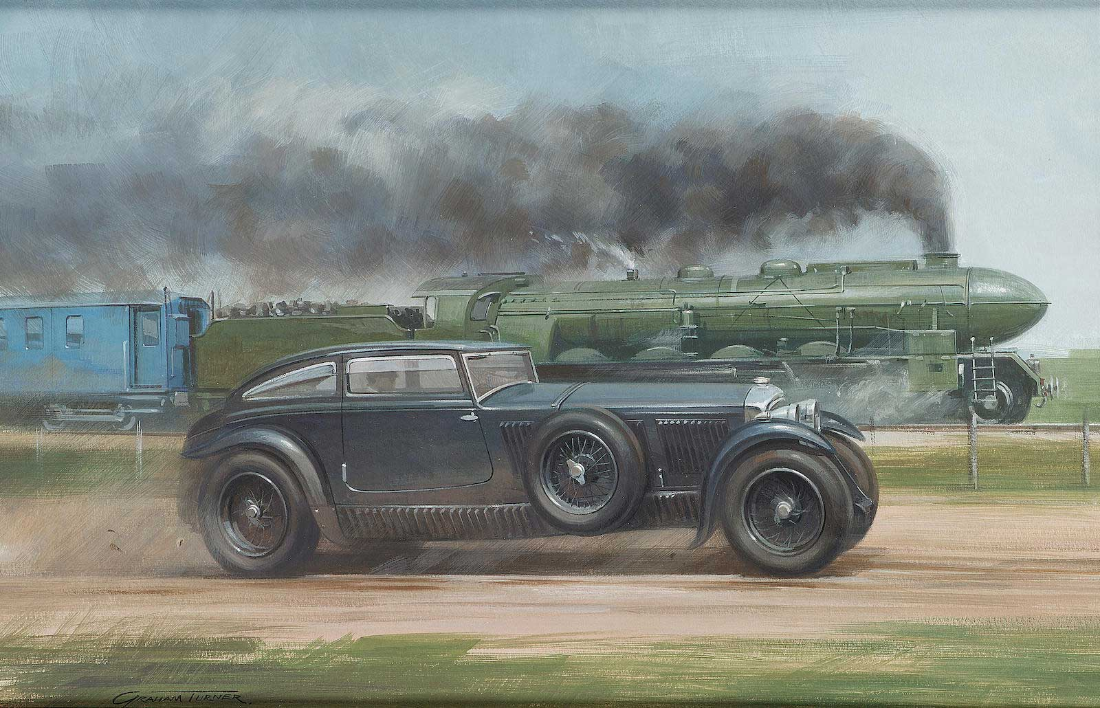 Painting auctioned off by Bonhams in 2004, Graham Turner,'Blue Train Bentley Versus Le Train Bleu,' gouache on board, depicting Woolf Barnato in his 6.5 Litre Straight Six Bentley racing against 'Le Train Bleu,' 34 x 53cm (13.5 x 21ins), mounted, framed and glazed (Image: bonhams.com)