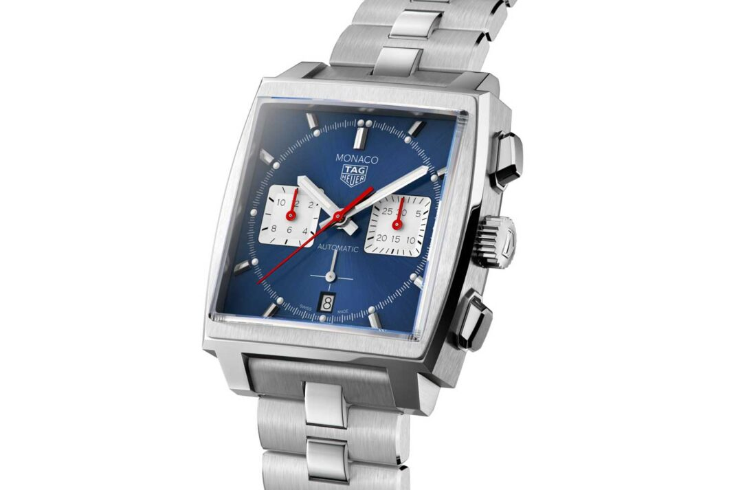 The TAG Heuer Monaco Chronograph 39mm Calibre Heuer 02 Automatic ref. CBL2111.BA0644 with the blue dial