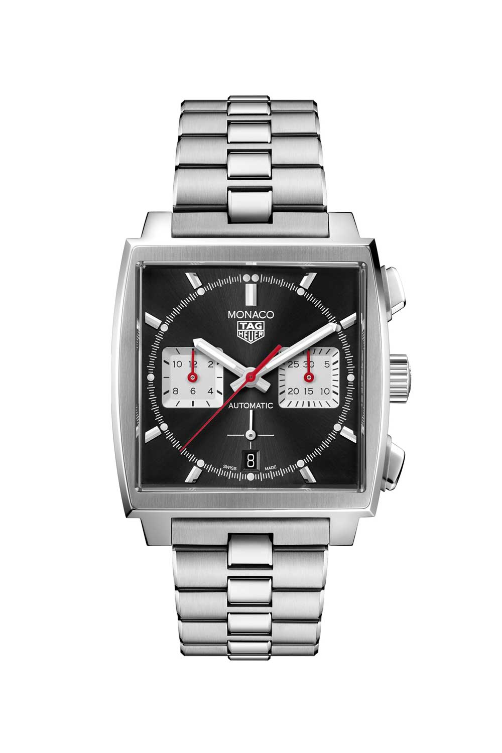 The TAG Heuer Monaco Chronograph 39mm Calibre Heuer 02 Automatic ref. CBL2113.BA0644 with the black dial