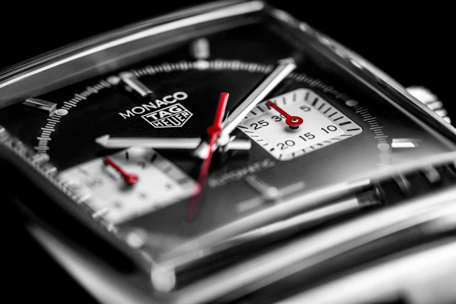 A closer look at the dial of the TAG Heuer Monaco Chronograph 39mm Calibre Heuer 02 Automatic ref. CBL2113.BA0644 with the black dial