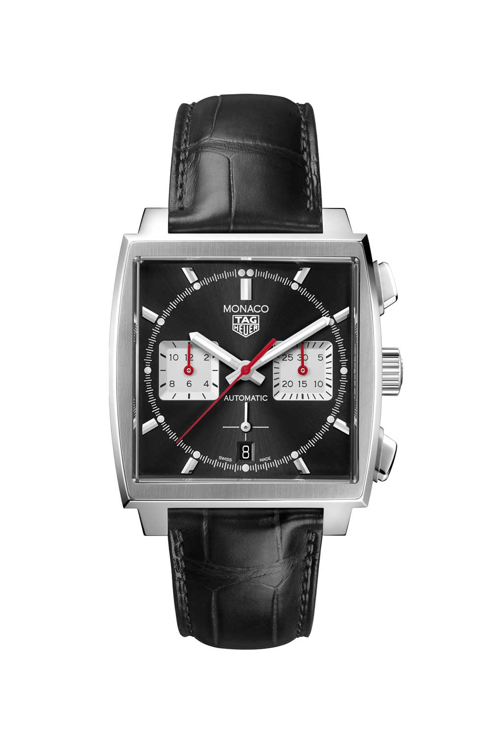 The TAG Heuer Monaco Chronograph 39mm Calibre Heuer 02 Automatic ref. CBL2113.FC6177 with the black dial