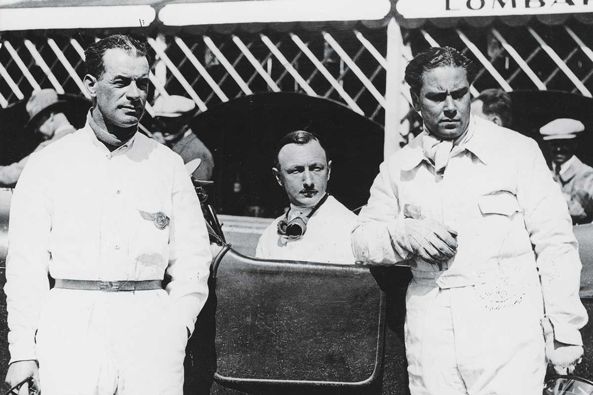 The Bentley Boys, c1928-c1930. Left to right; Frank Clement, Sir Henry Birkin and Woolf Barnato. Bentleys dominated the Le Mans 24 hour race in its early years, winning the race in 1924, 1927, 1928, 1929 and 1930. Barnato, the charismatic heir to a South African diamond mining fortune, was one of the drivers of the winning car in all of the last three victories. In 1929, the dark green Bentleys filled all the first four places with Barnato and Birkin's 6 1/2 litre Speed Six leading from start to finish and winning by a margin of some 70 miles. Bentley returned to Le Mans in 2001, with one of their cars finishing third. (Photo by National Motor Museum/Heritage Images/Getty Images)