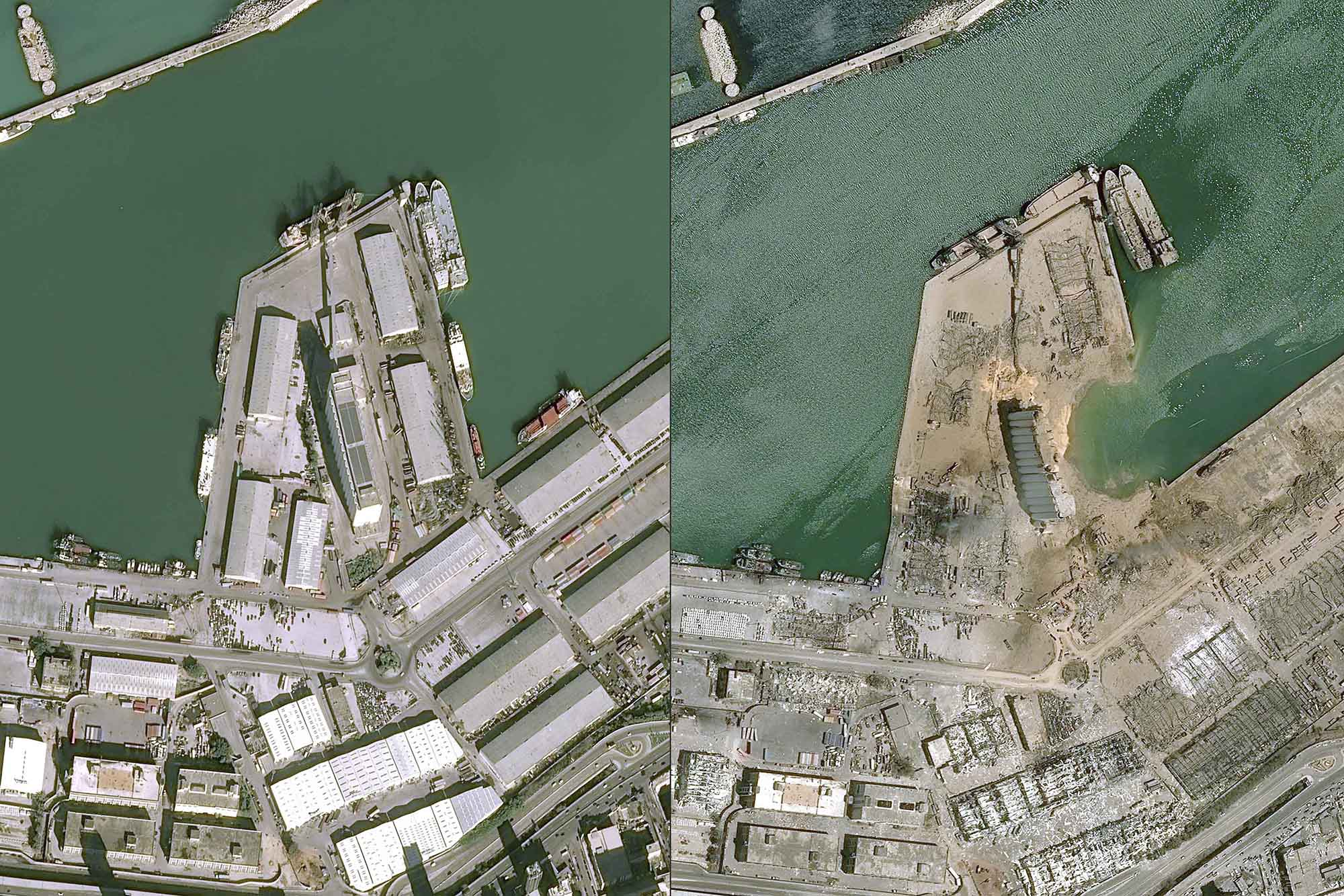 """This combo of handout satellite images courtesy of Cnes 2020 released on August 5, 2020 by Airbus DS shows a view of the port of Beirut on January 25, 2020 (L) and on August 5, 2020 a day after a blast in a warehouse in the port of the Lebanese capital sowed devastation across entire city neighbourhoods, killing more than 100 people, wounding thousands and plunging Lebanon deeper into crisis. - The blast, which appeared to have been caused by a fire igniting 2,750 tonnes of ammonium nitrate left unsecured in a warehouse, was felt as far away as the island of Cyprus, some 150 miles (240 kilometres) away. Beirut's governor Marwan Abboud spoke of """"an apocalyptic situation"""" he said may have made 300,000 people temporarily homeless and would cost the country over $3 billion. (Photo by -/CNES/AFP via Getty Images)"""