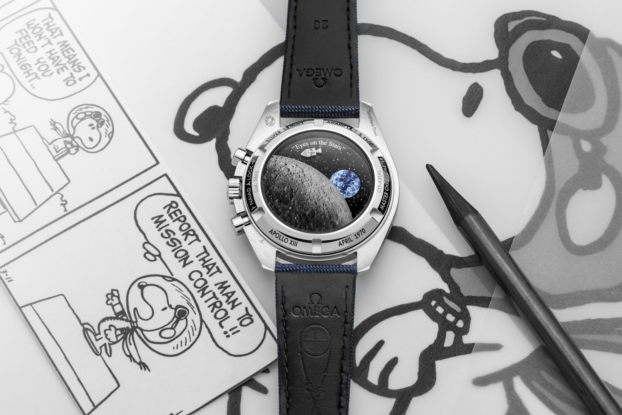 """An amazing animation on the caseback of the 2020 Speedmaster """"Silver Snoopy Award"""" 50th Anniversary"""