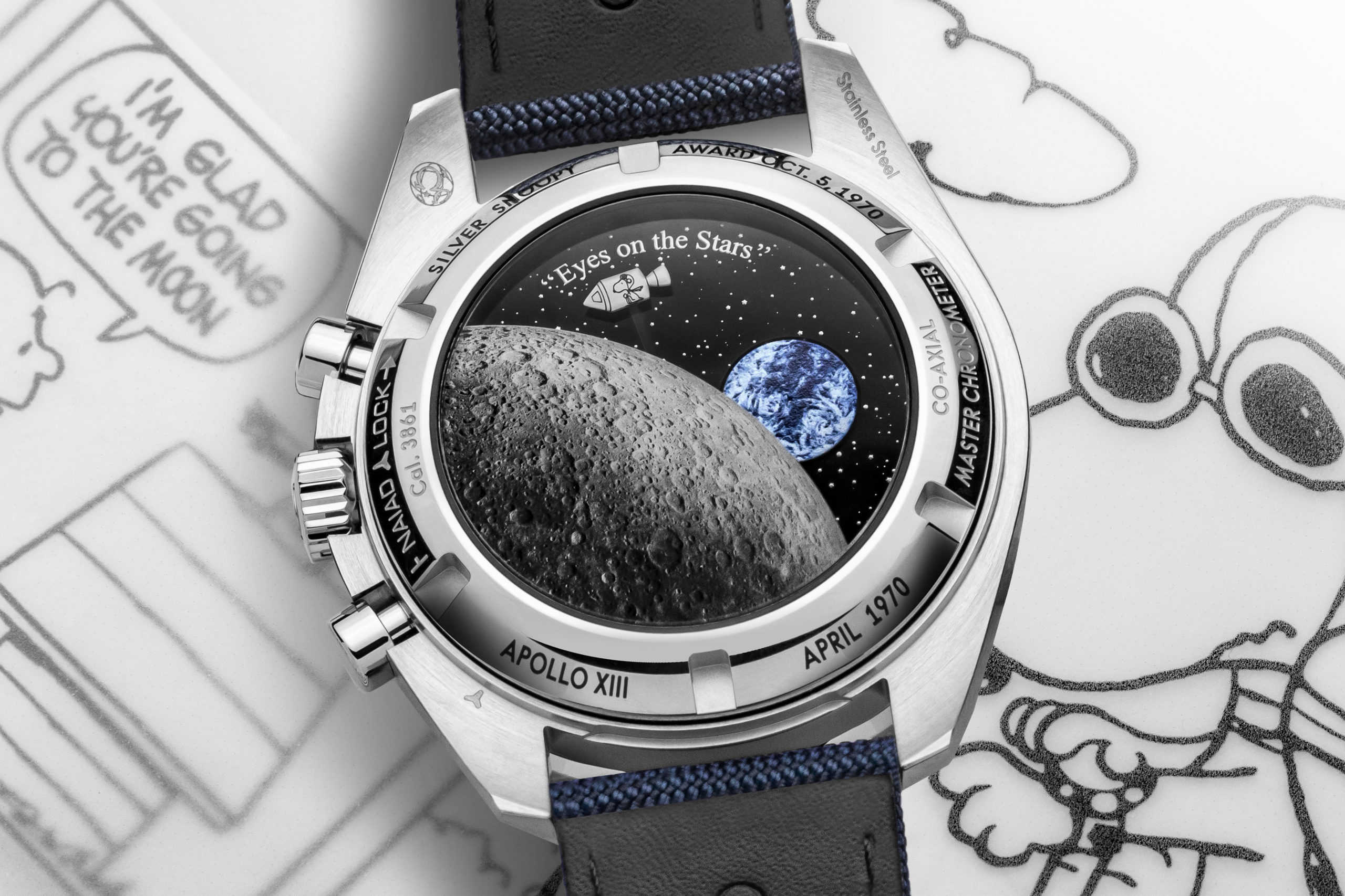 When the chronograph seconds hand is in use, Snoopy takes a trip around the mysterious far side of the moon