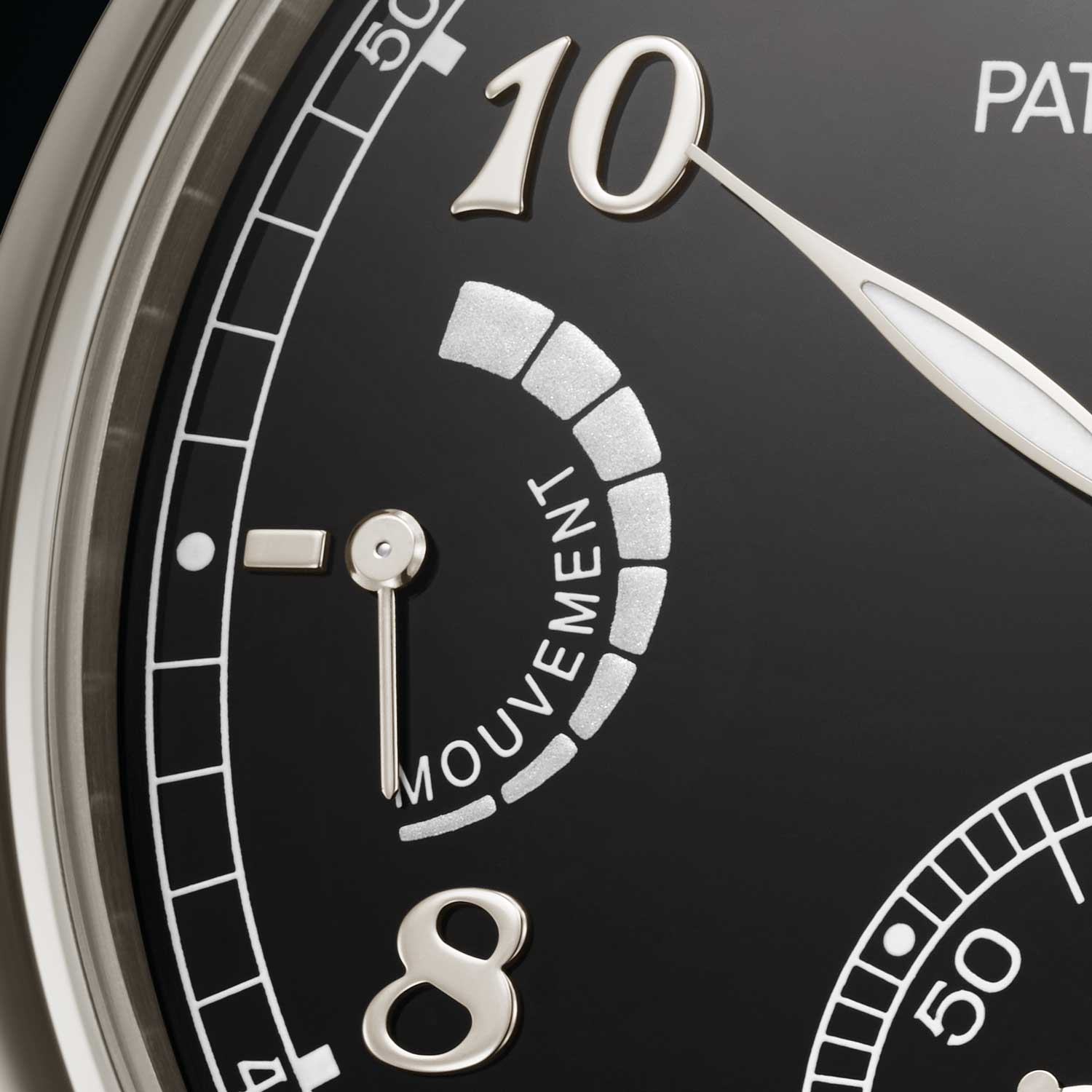 The Patek Philippe Ref. 6301P Grande Sonnerie features a power reserve indicator at 9 o'clock for the time keeping gear train