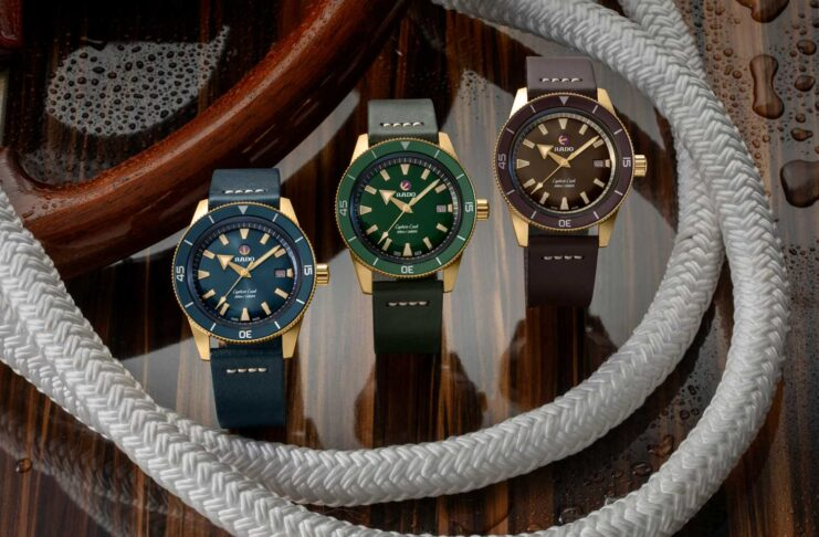 The Captain Cook Bronze is available in not one, but three dial colours — green, blue and brown — with matching ceramic bezels and leather straps (©Revolution)
