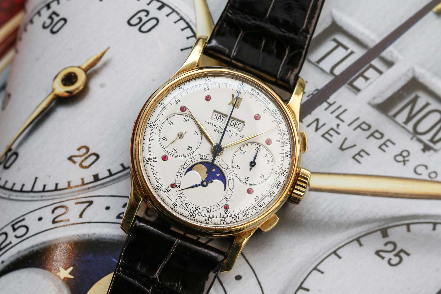 """The Patek Philippe ref. 1518 featuring the unique """"Charles Stern"""" dial offered at Christie's Hong Kong (©Revolution)"""