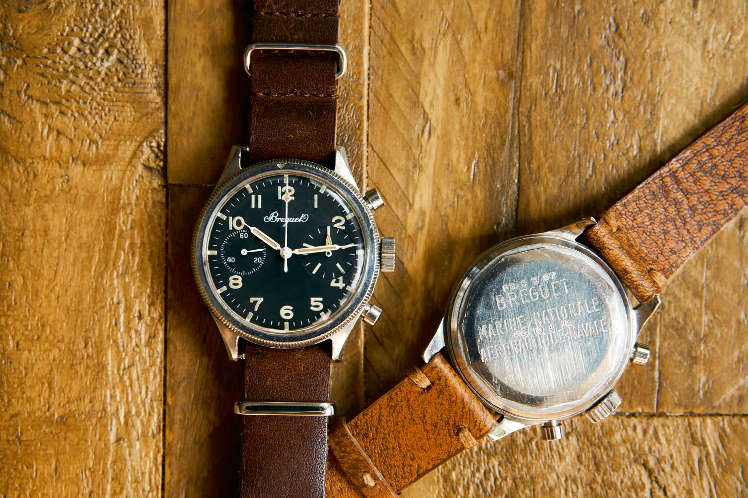 """A """"Big-Eye"""" Breguet Type 20. A fine example of the Marine Nationale military engravings on the case back provides clues to the past."""