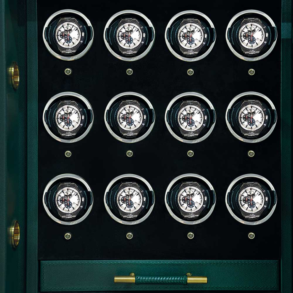 Details from the bespoke Churchill safe in British Racing Green.
