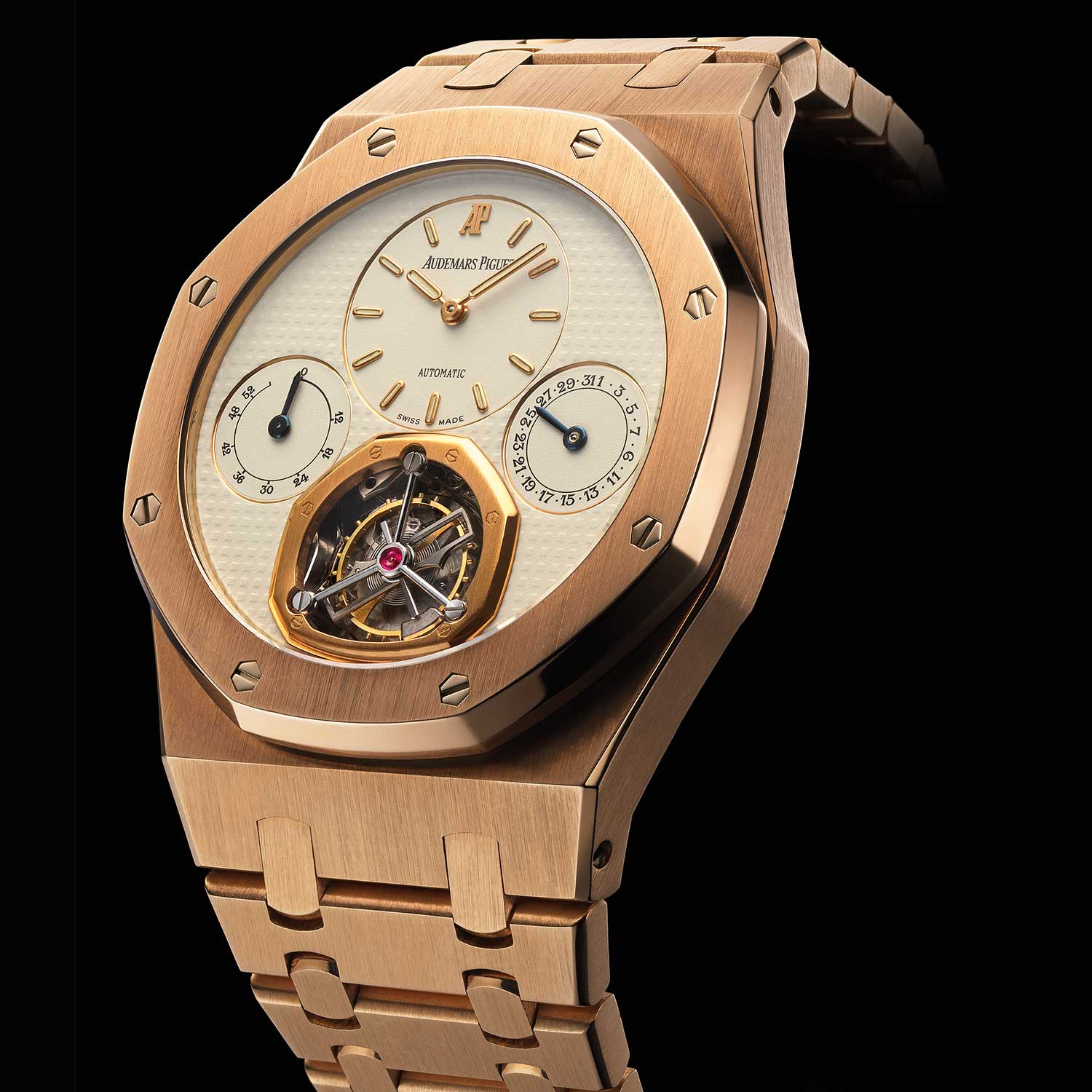 Royal Oak Tourbillon. Selfwinding, date, 52- hour power-reserve indication. Movement No 386194, 18-carat pink gold case No D99406, 01. Calibre 2875. Model 25831OR issued in a fivepiece limited edition. Audemars Piguet Heritage Collection, Inv. 910.