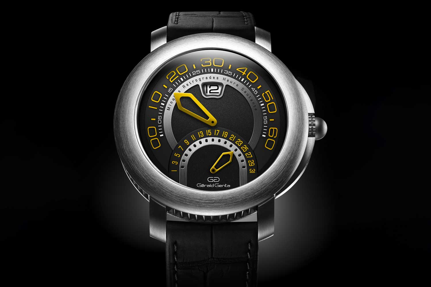 Jumping hours and retrograde minutes and date, signature details of Gérald Genta.