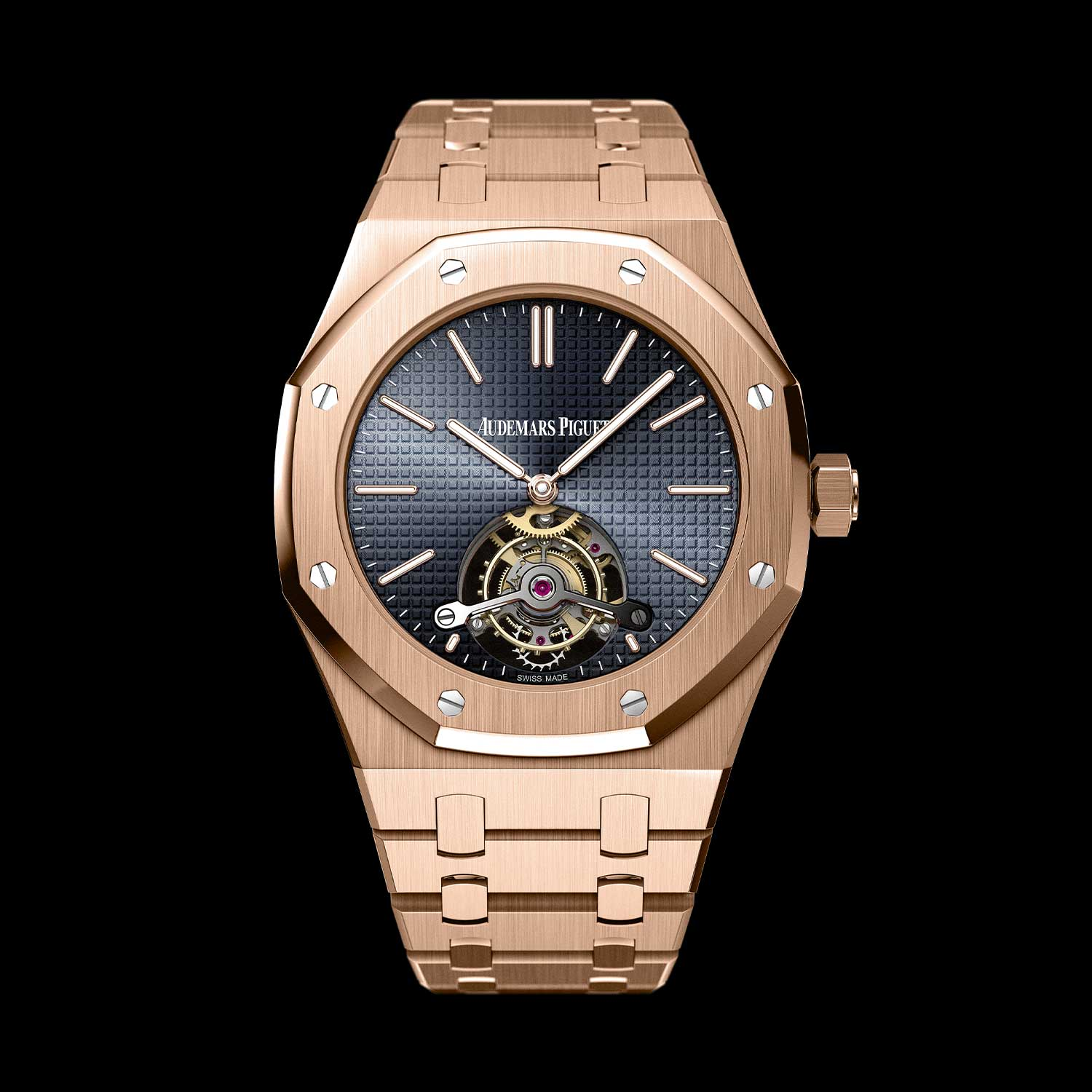 2012: Celebrating the Royal Oak's 40th Anniversary, Audemars Piguet introduced the Royal Oak Extra-Thin Royal Oak Tourbillon, with a 41mm 18-carat pink gold case powered by the Hand-wound Manufacture Calibre 2924