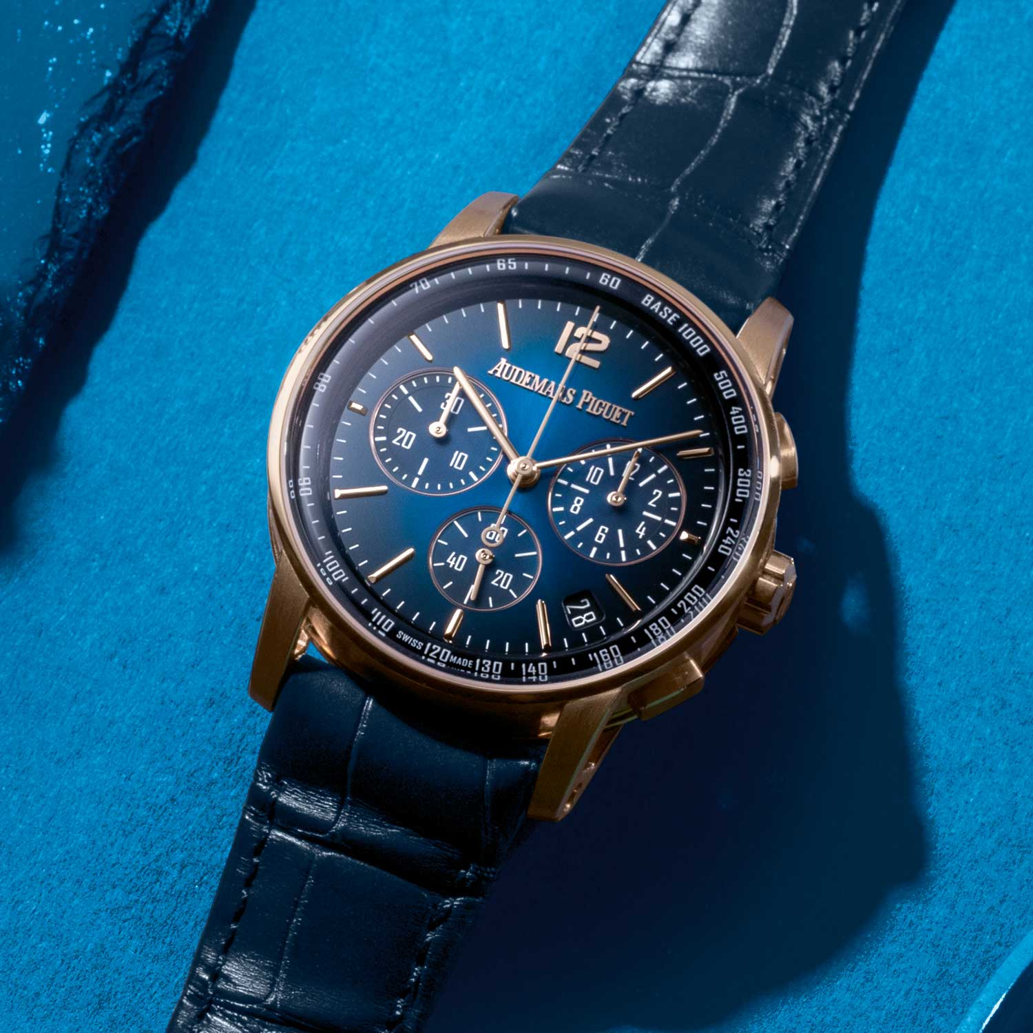 Audemars Piguet CODE 11.59 by Audemars Piguet Selfwinding Chronograph in rose gold with a smoked blue lacquered dial.