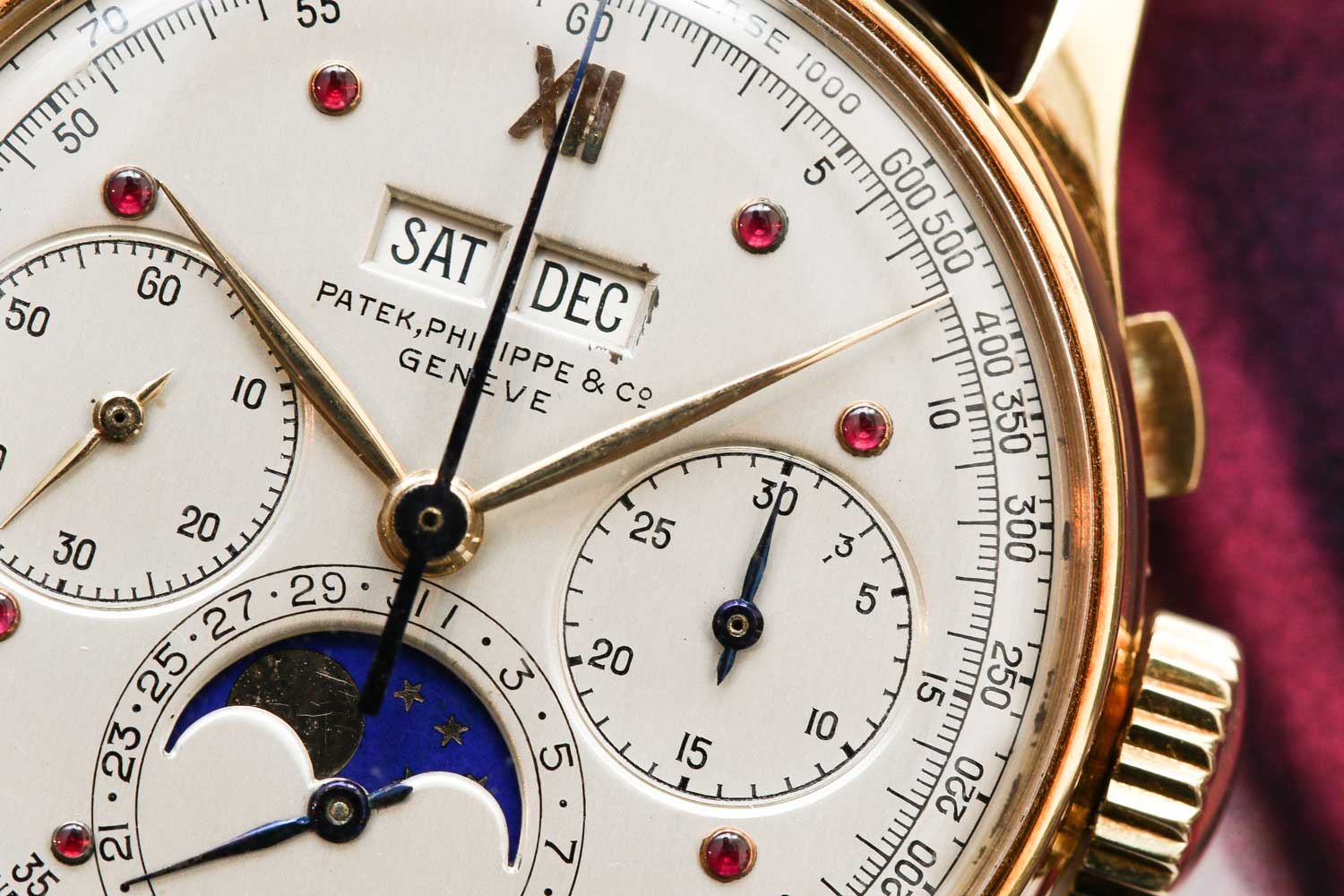 Mr. Stern's special dial with cabuchon ruby hour markers and a 3-minute telephone call timer scale (©Revolution)