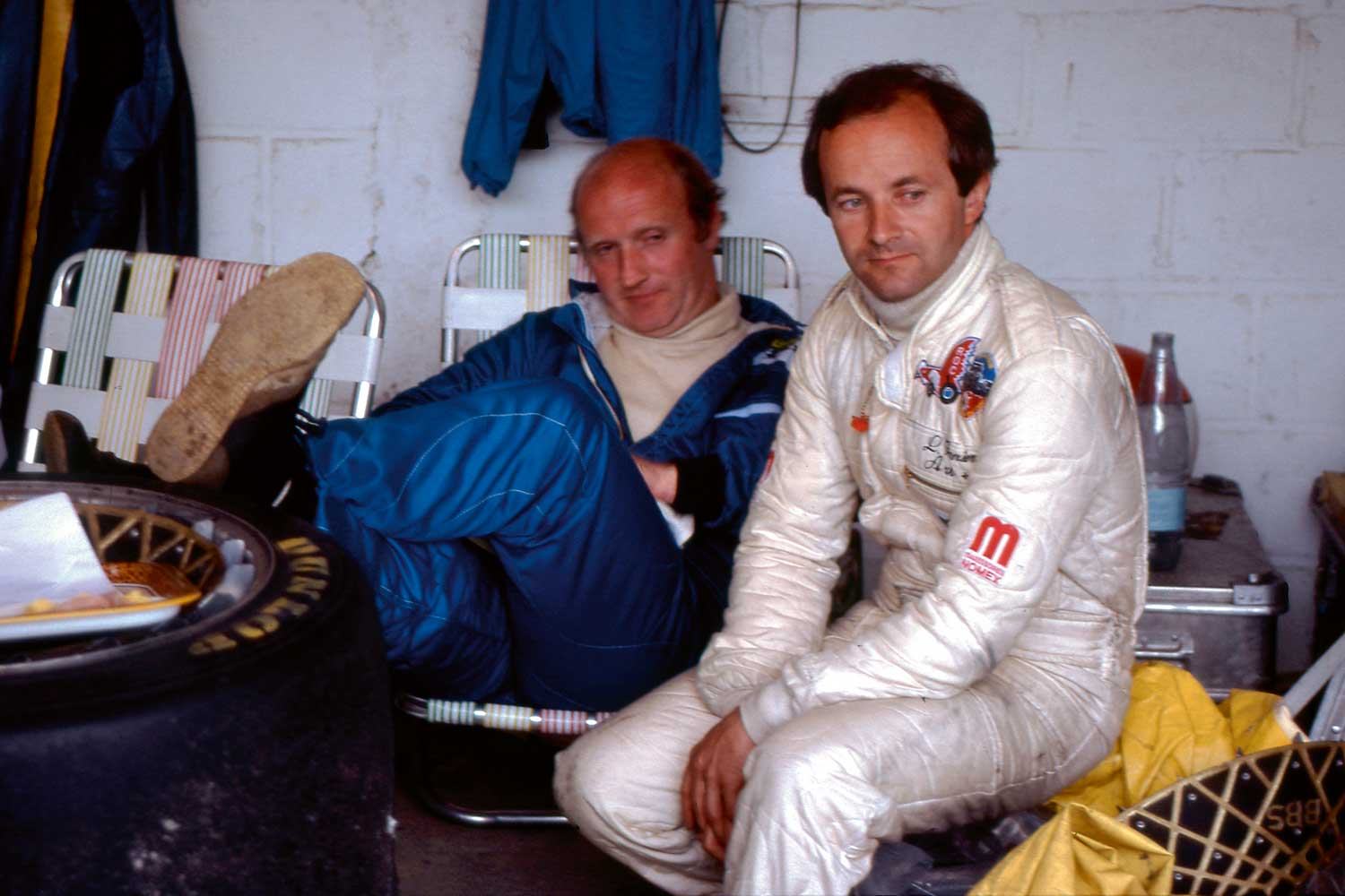 Ferrier's racing career would lead to a meeting with industrialist François Servanin, who eventually became President and main shareholder at LAURENT FERRIER watches; here we see the two gents at Le Mans in racing gear