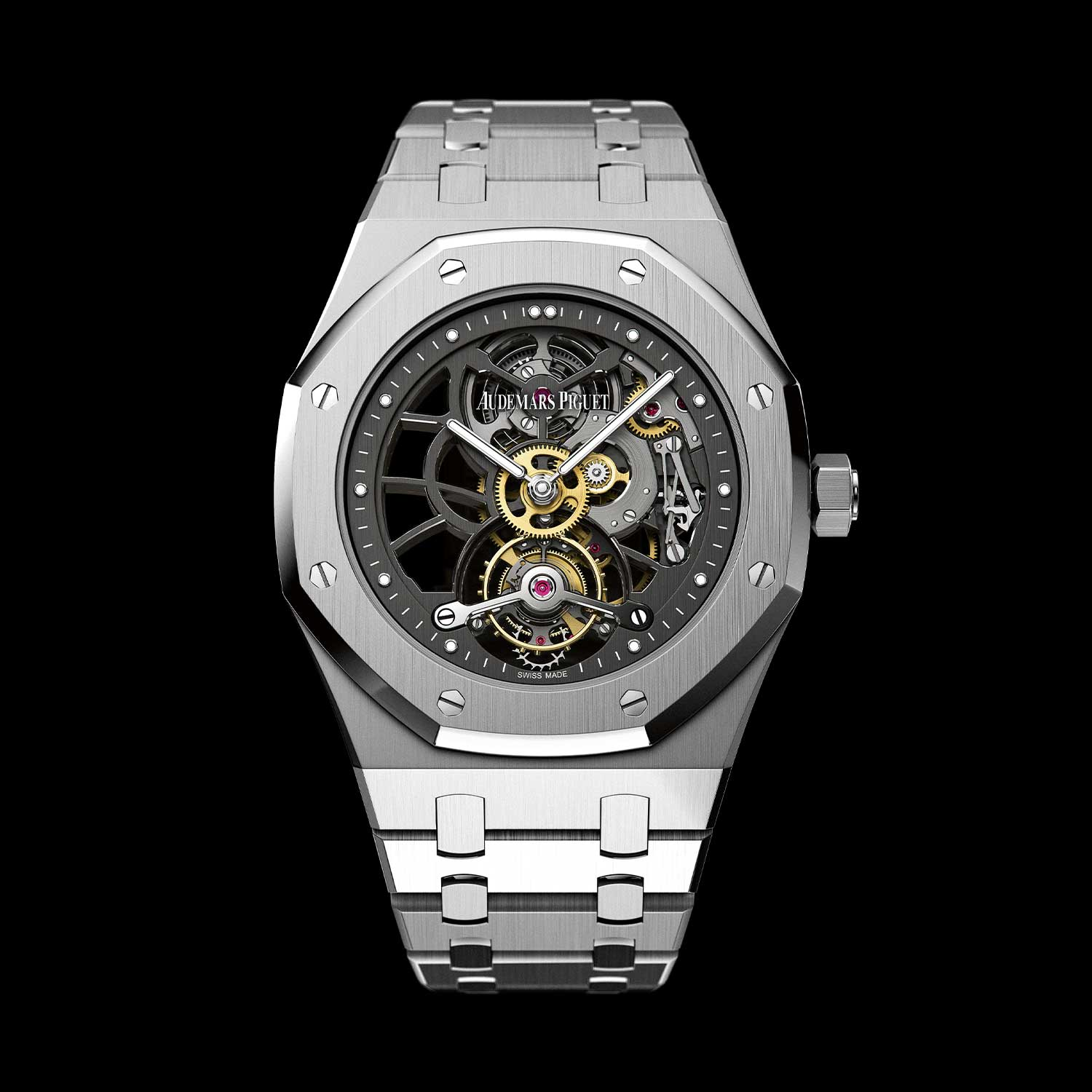 2012: The Audemars Piguet Openworked Extra-Thin Royal Oak Tourbillon 40th Anniversary Limited Edition, in a 41mm 950 platinum case powered by the hand-wound Manufacture Calibre 2924; issued in a limited run of 40 pieces