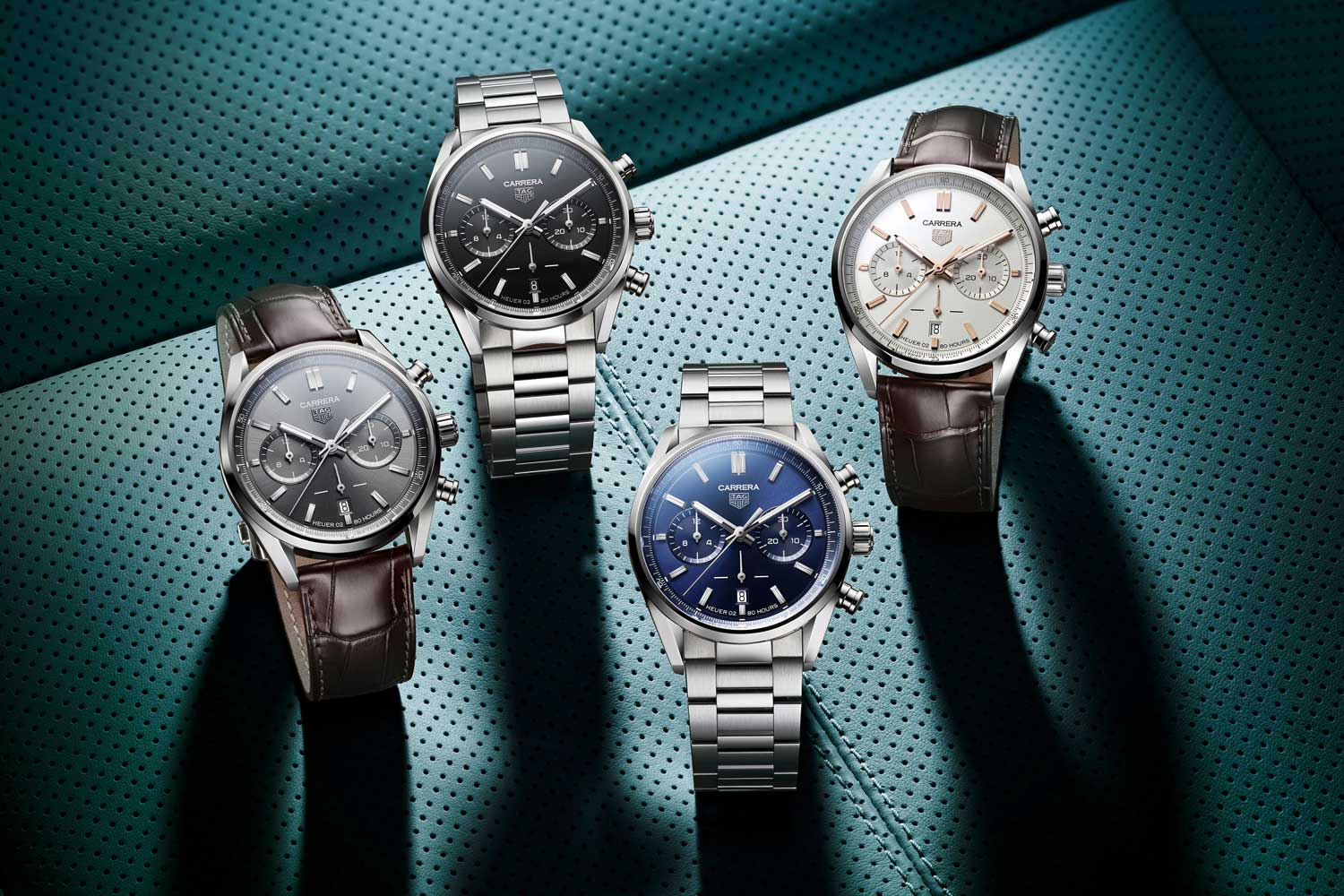 TAG Heuer Carrera Chronograph in 42mm comes in four variations with options for the stainless-steel H-shaped bracelet and leather straps