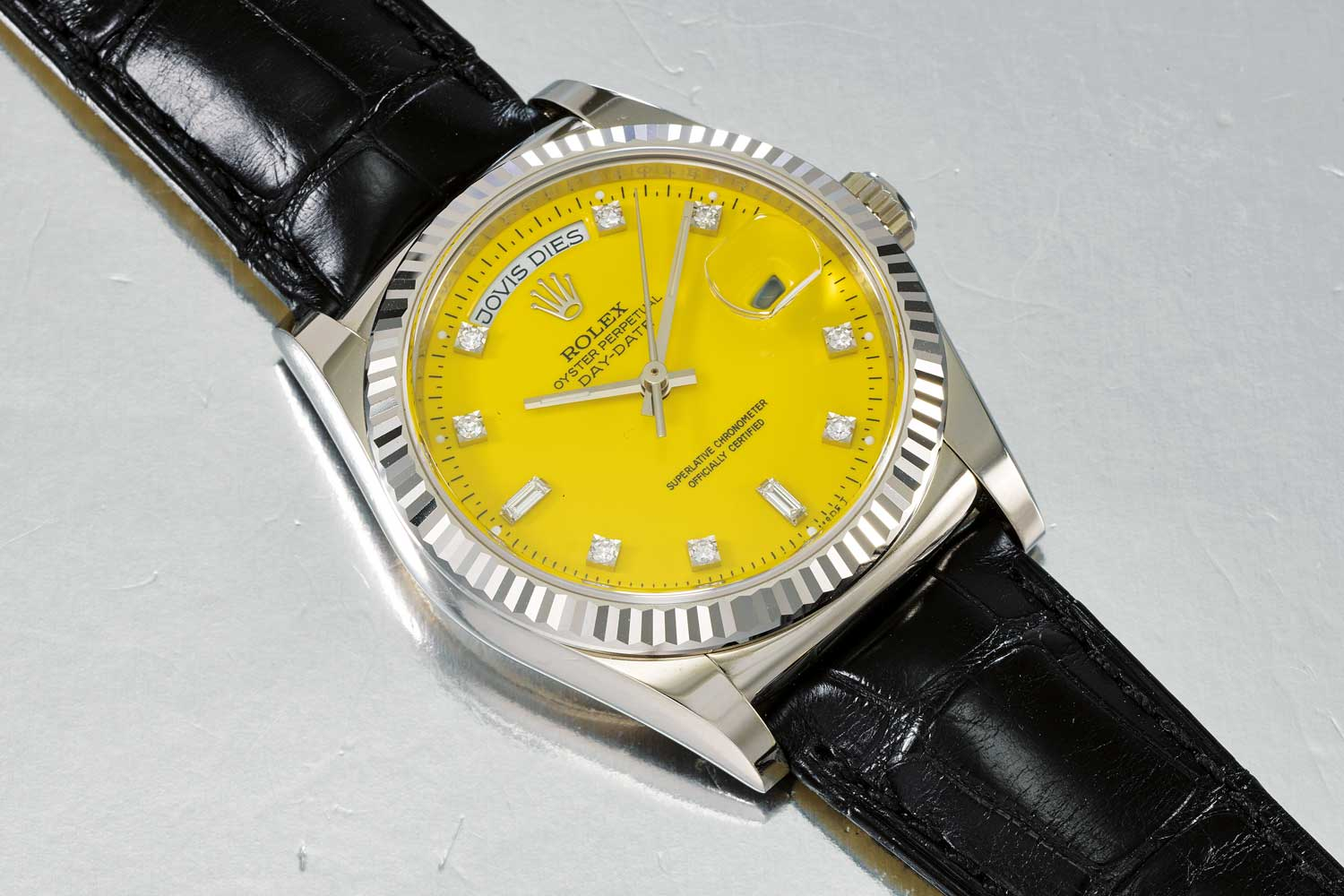 The 2013 white gold Day-date reference 118139 with specially commissioned Stella dial. The pictured Day-Date Ref. 118139 with yellow Stella diamond-set dial is one such watch and represents an über rare example. Like with most watches, sooner or later owners or descendants of owners decide to part with even the rarest pieces. One can almost bet on new record prices for these true trophies of Stella dials!