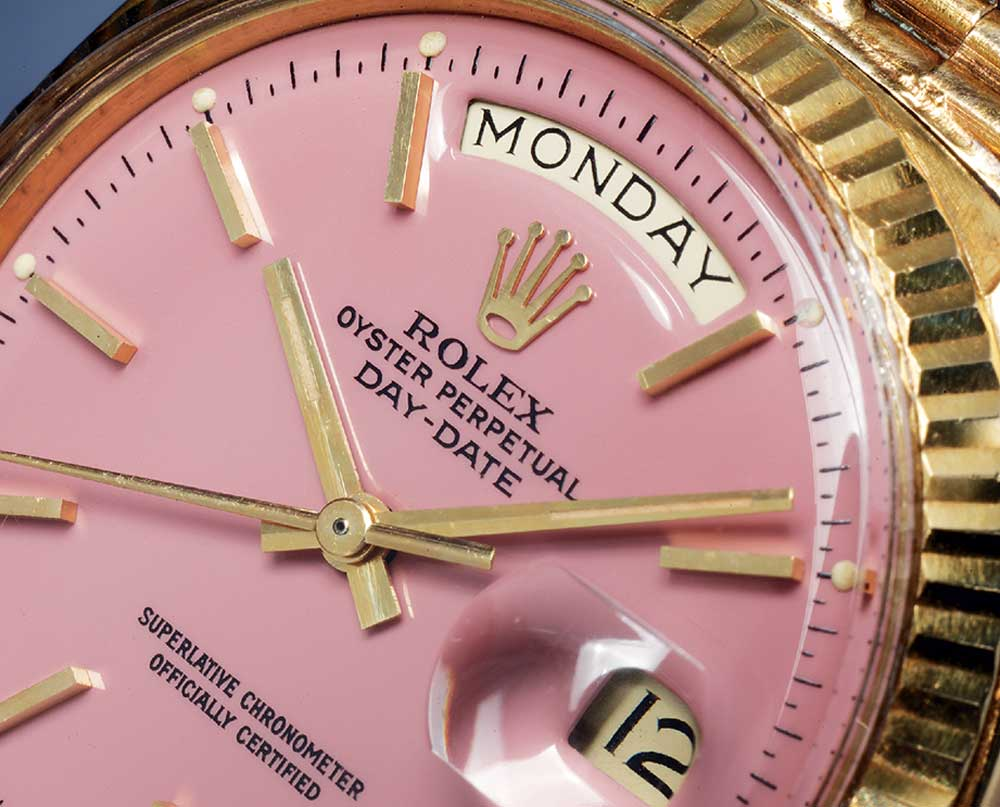 A lilac coloured Stella dial fitted to a yellow gold reference 1803 Day-Date. Pucci Papaleo christened the watch Purple Rose in the book 'Day-Date: The Presidential Rolex'.